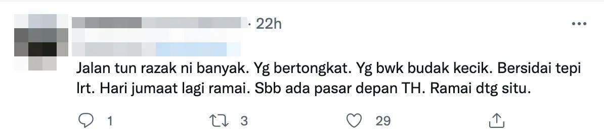 Twitter comment traffic light beggar jalan tun razak