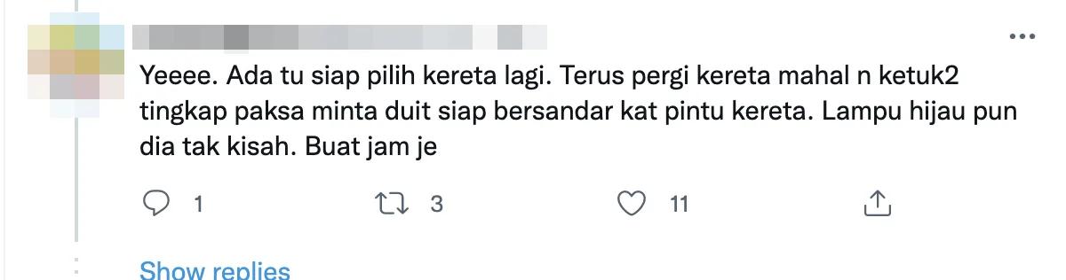 Twitter comment traffic light beggar choose car